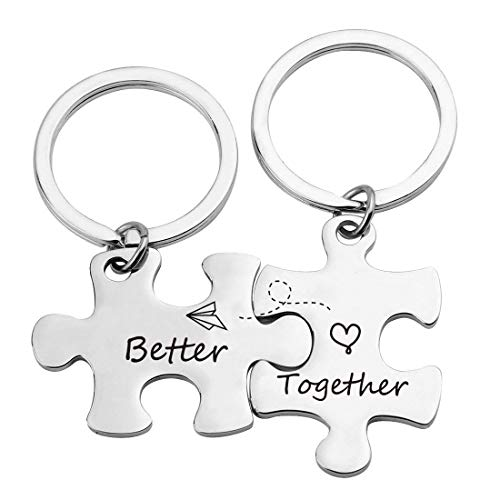 ZNTINA Couple Puzzle Piece Keychain Better Together Couples Set Keychain Long Distance Relationship Gift Valentine Gift (Better Together Puzzle KR)