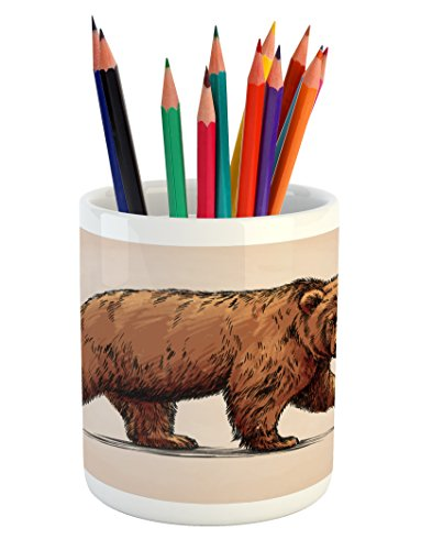Ambesonne Bear Pencil Pen Holder, Ink Drawing Style Wildlife