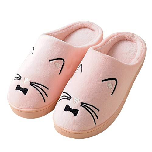 D Pantoufle Femmes Rose Chaussons Kitty Slipper Mignon Chaud Douce Antidérapant Hiver Hommes Chat Maison Coton Chaussures Minetom Animé Peluche U0PnqwUT