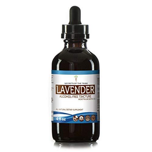 Lavender Flower Organic Alcohol - Lavender Alcohol-Free Liquid Extract, Organic Lavender (Lavandula X Intermedia) Dried Flowers Tincture Supplement (4 FL OZ)