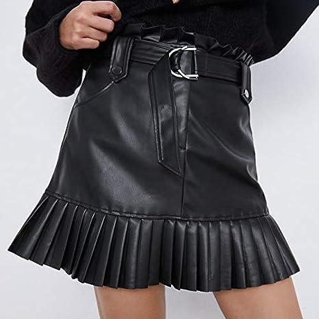 YMKCBB Falda Corta Faldas Plisadas para Mujer Falda De Cintura Alta con Volantes Mini Faldas Cortas Falda De Faja Negra Faldas Elegantes Falda De Cuero Sintético para Mujer M Faldas De Cuero Negro