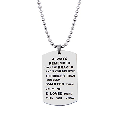 Hand Stamped Dog Tag Pendant Necklace with Stainless Steel Ball Chain (stainless steel silver) (Awareness Dog Tag)