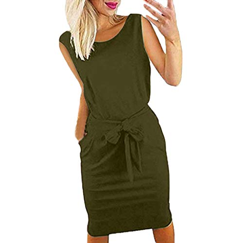 Willow S Womens Lady Casual Pocket Summer Sleeveless Bow Tie Evening Party Mini Dress Army Green ()