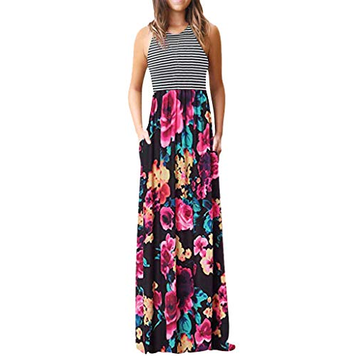 Emimarol Women's Dresses O Neck Stripe Sleeveless Maxi Dresses Casual Printed Long Dresses with Pocket ()