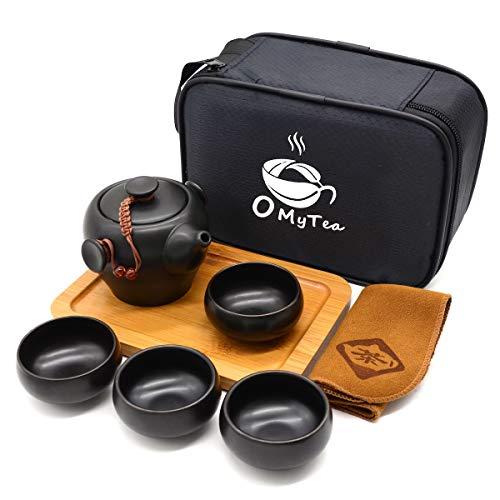 OMyTea 100% Handmade Chinese/Japanese Vintage Kungfu Gongfu Tea Set - Porcelain Teapot & Teacups & Bamboo Tea Tray & Tea Mat with a Portable Travel Bag (Black 2)