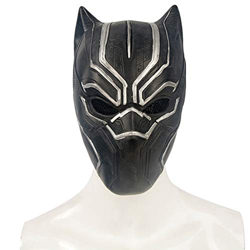 Masks Halloween Christmas Captain America Cosplay Accessories Black Leopard Latex Easy to Scare Scary Adult Ball Helmet Dress Up & Pretend Play (Color : Black, Size : -