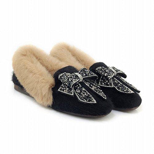 Latasa Dames Namaakbont Boog Slip Op Winter Flats Zwart