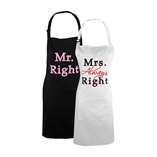 KOSTING Funny Wedding Gifts for Newlywed Mr. Right and Mrs. Always Right Matching Aprons, Home Engagement Anniversary Gift for Couples