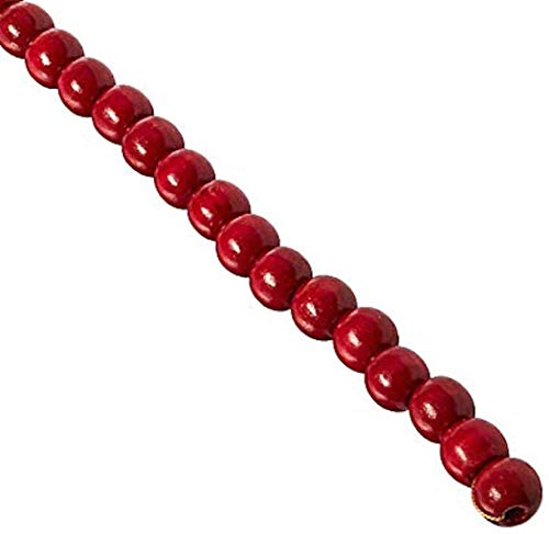 (Darice 14mm Wood Bead Garland, 9-Feet, Burgundy)
