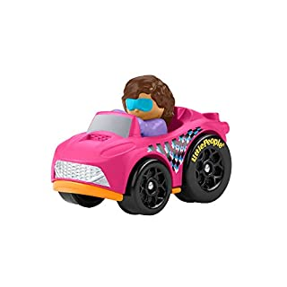 Fisher-Price Little People Wheelies Roadster - GMJ27 ~ Pink and Orange Sportscar