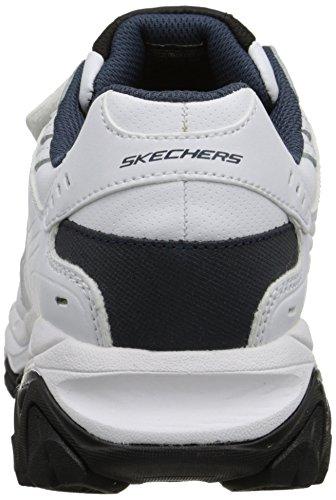 Skechers Sport Mens Afterburn Strike Minne Skum Velcro Gymnastiksko, Vit / Marin, 15 4e Oss