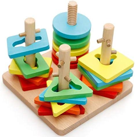 、コラム形状マッチングおもちゃ、子供の木製啓発のおもちゃのセット3-6歳のお子様には適し (色 : Multi-colored)
