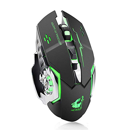 TechCode Laptop Mouse Wireless, Wireless Silent Mouse Rechargeable USB with 2400DPI 7 Colors LED Backlit Adjustment Ergonomic Design Mice Side Mute Buttons Gaming Mouse or Laptop/PC/Notebook(Black)