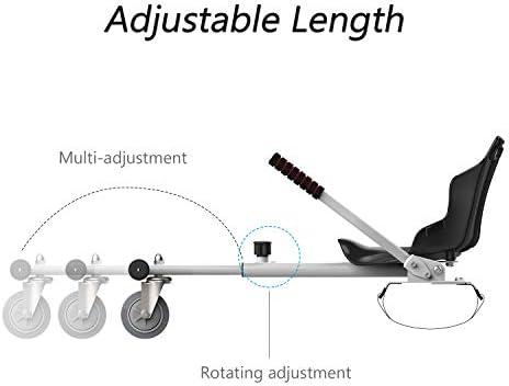 "MARKBOARD HoverKart pour Self-Balance Scooter / Kart Siège pour Gyropode, Scooter Électrique, Ajustable Compatible avec Scooter 6.5"", 8.5"", 10"" Scooters (Blanc)"