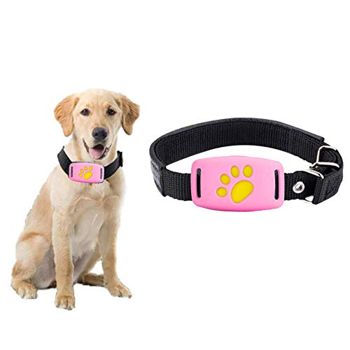 Waterproof Dog GPS Tracker, Mini Smart Finder Pet Cat Puppy Location,Rechargeable Dog Collar Tracker System (Pink) ()
