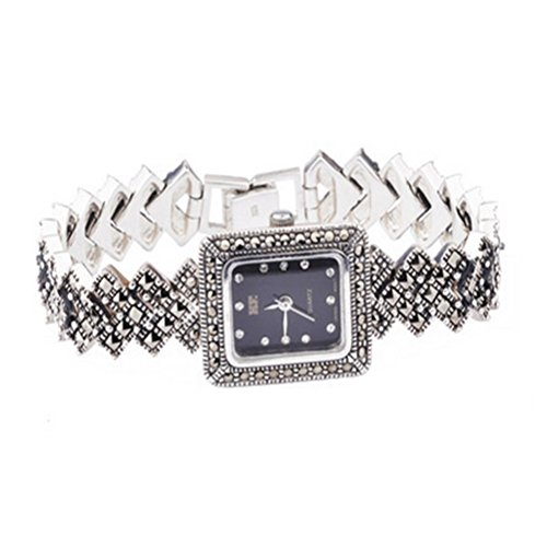 - Sterling Silver Wristwatch 925 Silver Bracelet with Marcasite Luxury Vintage Jewelry