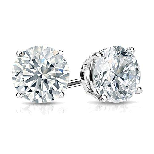 Diamond Wish IGI Certified 14k White Gold Lab Grown Diamond Stud Earrings (1 1/2 cttw, I-J, VS1-VS2) 4-Prong Basket, Screw Back
