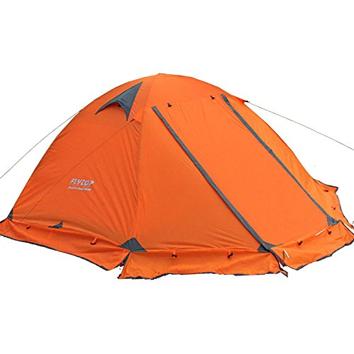 4-season 2-person Waterproof Dome Backpacking Tent For Camping Hiking Travel Climbing – Easy Set Up (Orange)