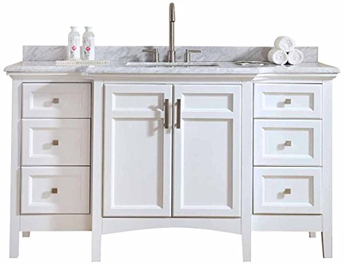Ari Kitchen and Bath 60 Single Bathroom White AKB-LUZ-60-WH Luz Vanity Set,