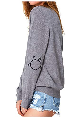 dd6183d9e3acce Jual CUPSHE Women s Long Sleeve Pullover Sweatshirt Cat Embroidered ...