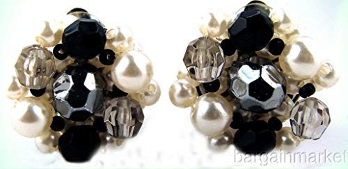 Vintage Faux Pearl Silver Black Cluster Knot Bead Clip On Earrings For Women