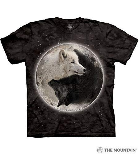 Retail Dog T-shirts Black - The Mountain Ying Yang Wolves Adult T-Shirt, Black, 2XL