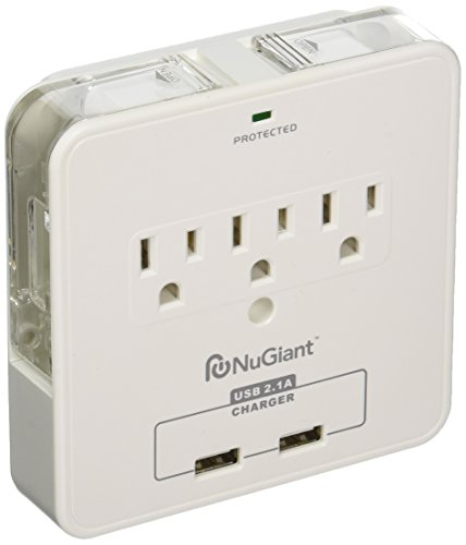Inland NSS17 Wall Tap Surge Protector with USB Charger & Cradles