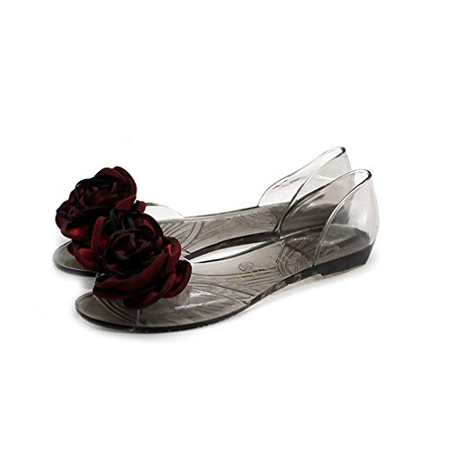 GIY Clear Jelly Bow Sandals for Women Transparent Summer Bea
