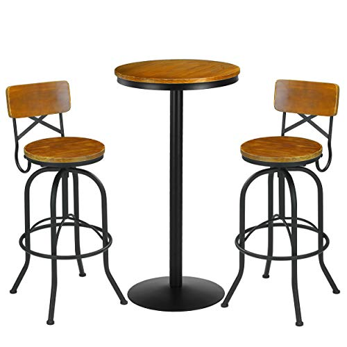 VILAVITA 3 Piece Bar Table Set 41.5 Inch Height Pub Table with 2-Set Bar Stools Retro Finish Bistro Pub Kitchen Dining Furniture Wooden Top with Metal Frame