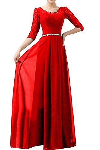 Damen Braut Rot Langarm Blau Rock mia Festlichkleider Linie Ballkleider Chiffon Partykleider A La Abendkleider Ztq5HO