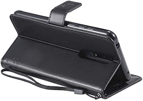 QPOLLY Kompatibel für Nokia 3.1 Plus Hülle Leder Tasche Flip Case Katze und Baum Muster Handytasche Magnet Schutzhülle im Brieftasche-Stil mit Kartenfächer Standfunktion,Grau