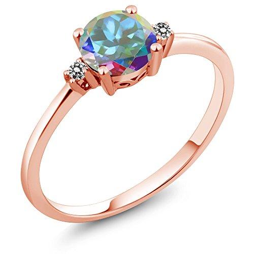 Gem Stone King 10K Rose Gold Engagement Solitaire Ring set with 1.03 Ct Round Mercury Mist Mystic Topaz and White Diamonds (Size - Set Topaz Mercury