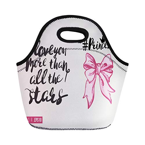 Semtomn Lunch Bags Bridal Princess Bow and Text I Love You More Neoprene Lunch Bag Lunchbox Tote Bag Portable Picnic Bag Cooler Bag ()