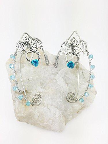 Elven Ear Cuffs Silver DRAGON with Rose, Fairy Ear Cuffs, Cosplay Elf Ear Cuffs, Fantasy Costume Ear Cuffs, Dragon Ear Cuffs, Wire Ear (Cosplay Shop)