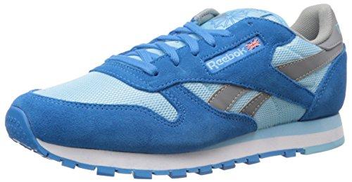 Cheap Reebok Women's Leather Classic Shoe, Energy Blue/Blue Pool/Flat Grey/White, 5.5 M US