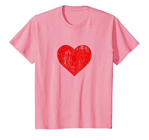 Kids I Love You Red Heart Distressed Valentine's Day T Shirt 12 Pink
