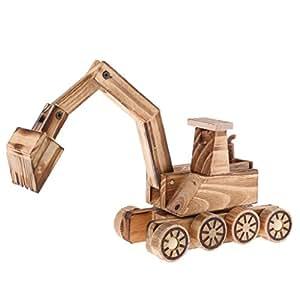 MagiDeal Retro Madera Excavadora Coche Vhicle Modelo casa Adorno de Escritorio Oficina Decor Art Craft Collectibles Kid Jugar Juguete