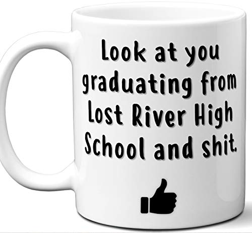 Lost River High School Graduation Gift. Cocoa, Coffee Mug Cup. Student High School Grad Idea Teen Graduates Boys Girls Him Her Class. Funny Congratulations. 11 oz.