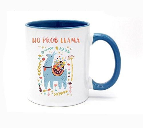 11 Ounce No Prob Llama Coffee Mug or Tea Cup White+Blue (Teacup Llama)