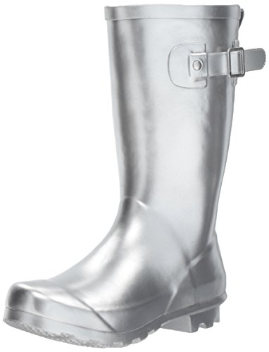 Western Chief Girls Waterproof Classic Youth size Rain Boots, Silver, 1 M US Little Kid ()