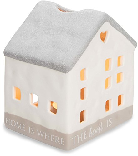 Pavilion Gift Company 86201 Love Lives Here - Home Is Where The Heart Is Porcelain House Candle Holder by Pavilion Gift Company