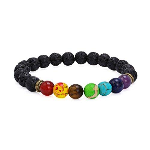 7 Chakra Lava Stone Diffuser Bracelet Crystal Reiki Healing Balancing Natural Gemstone Round Beads