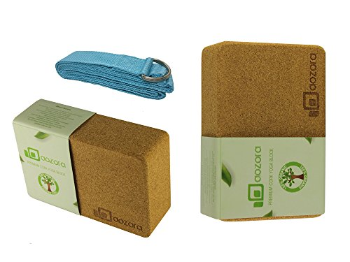 |Cyber Monday Sale| Aozora Cork Yoga Block | Sustainable & Eco Friendly | 2 Pack and yoga Strap Set | Made of the Finest Natural Cork for Better Support, Balance & Comfort