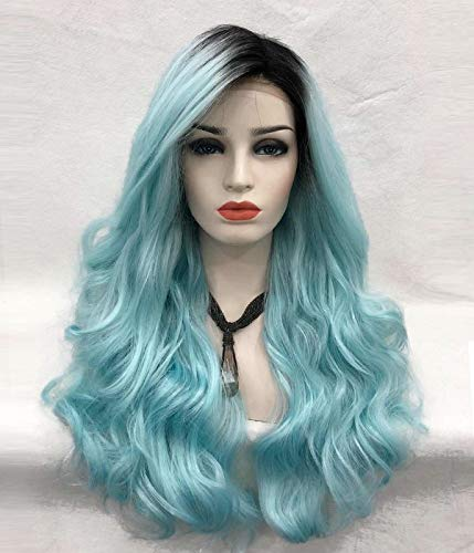 UniWigs Sky Lace Font Wigs, Heat Friendly Fiber Rooted hair Color Long Wavy Style for Fashion Girls