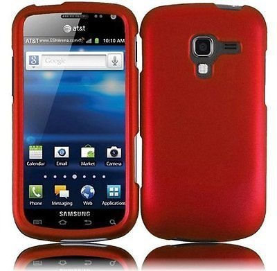 (Samsung Galaxy Exhilarate i577 case, Luckiefind Hard Rubberized Cover Snap On Plastic Case & Stylus Pen Accessories (Red))