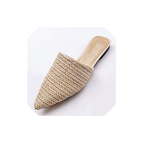 Women Slippers Fashion Pointed Toe Weave Mules Shoes Flat Slides Summer Beach Flip Flop Outside,Beige,8