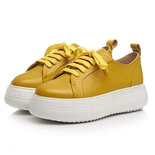 Cuir Plat Printemps Automne Jaune À Femme Yellow Baskets Confort Gris Chaussures Talon Bout Rond ZHZNVX Nappa wqCtnSvvU