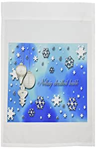 3dRose fl_37012_1 Garden Flag, 12 by 18-Inch, Nollaig Chridhei, Merry Christmas in Scottish Gaelic, Snowflakes