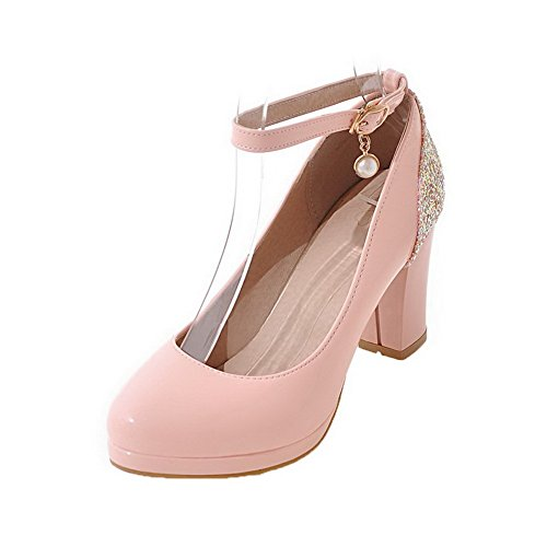 AllhqFashion Womens Studded PU High-Heels Buckle Round-Toe Pumps-Shoes Pink