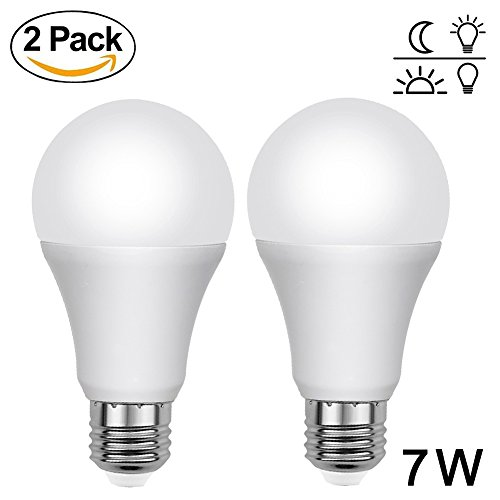 Aukora Dusk to Dawn Light Bulbs - 7W E26/E27 Sensor Lights Bulbs with Auto Switch Outdoor/Indoor LED Lighting Lamp for Porch Front Door Garage Basement (Cool White, 2 pack) (Patio 1 2 Door Lite)